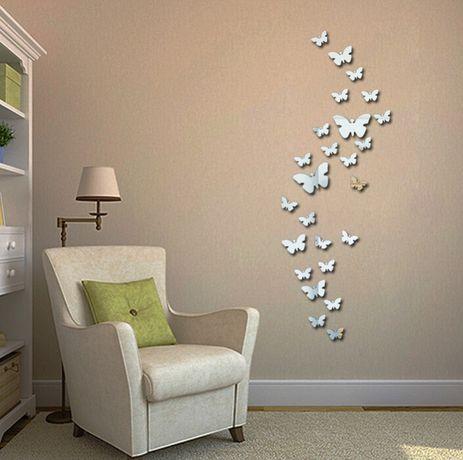 Naklejki na ścianę Lustrzane Motyle 3D MS-0003