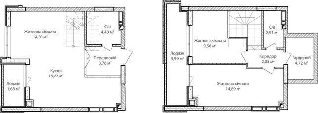 Двухуровневая 3-х комнатная квартира, рассрочка в гривне