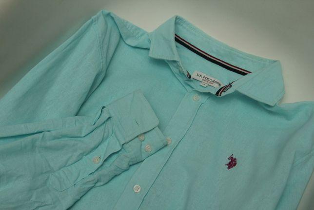 US Polo Assn рр XL рубашка из льна и хлопка