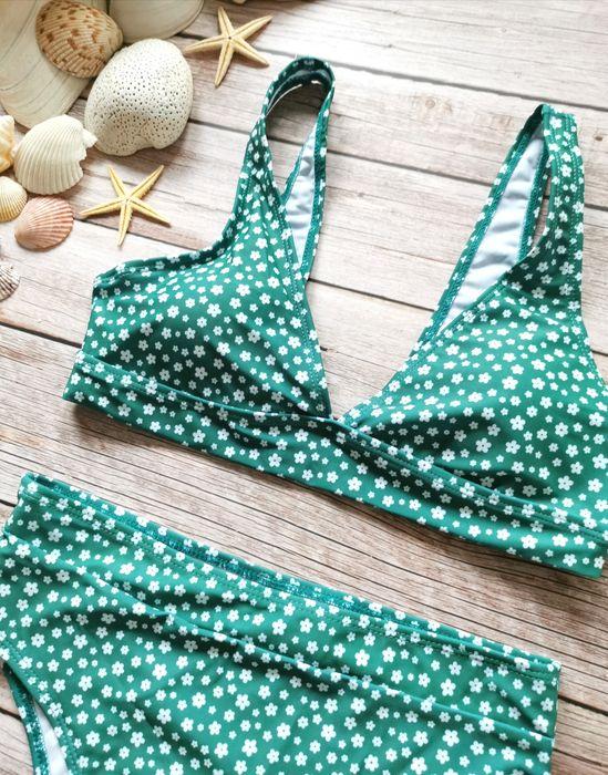 Zielony kostium w kwiaty bikini S/M Warszawa - image 1