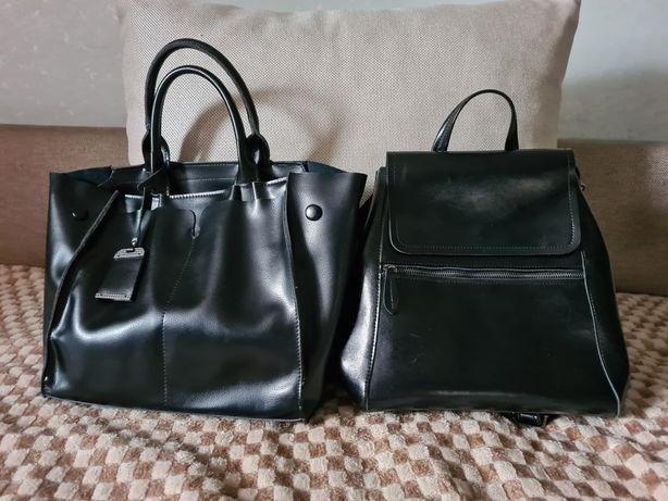 Продам кожанные сумку и рюкзак