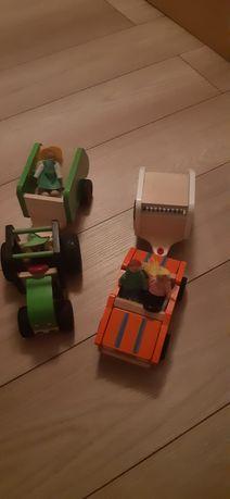 Zabawki dziecko drewniane samochody figurki