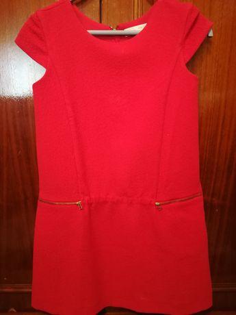 Vestido vermelho fechos dourados Zara Novo