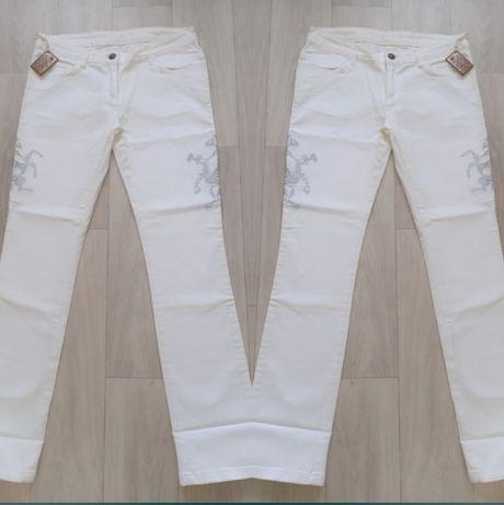 Białe spodnie jeansowe jeansy ossy raw L wzór