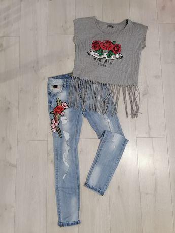 Женские джинсы и футболка