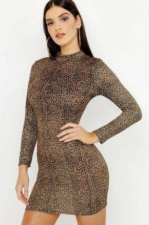 Фирменное леопардовое весенние платье по фигуре, Boohoo\mango