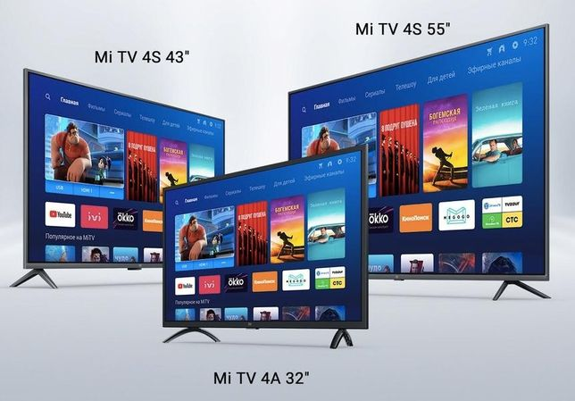 """32"""",43"""",50"""",55"""",65"""" Tелевизоры LED Xiaomi Mi TV4S/Smart TV/Android 9.0"""