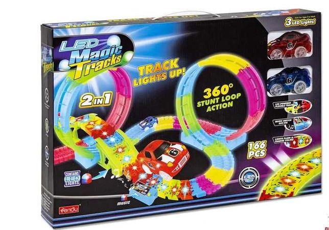 Светящийся трек Magic Tracks 166 дет, 2 маш, мост, петли, свет, звук
