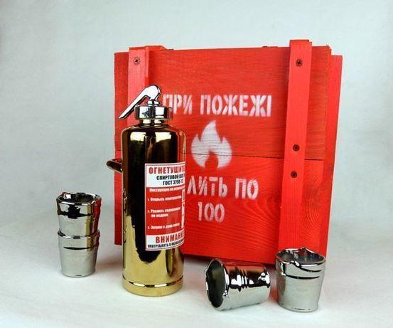 Огнетушитель бутылка в деревянном ящике, крутой подарок мужчине, бар