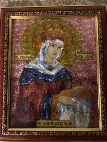 Вышитая бисером икона св.Елена