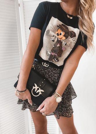 T-shirt Myszka Miki Mouse Mickey cyrkonie czarna Disney S M L