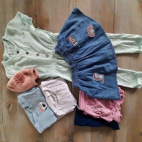 paka dla dziewczynki 86 reserved spodnium bluzki czapka
