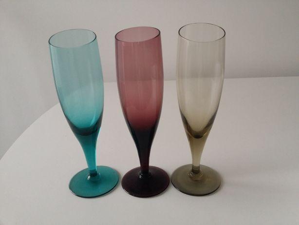 3 copos cálices cristal colorido vintage ideal decoração