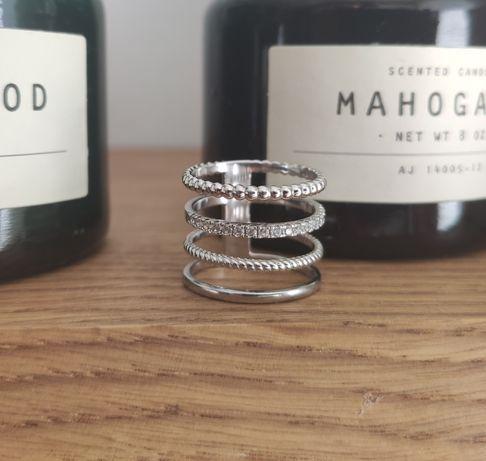 Pierścionek srebro 925 i białe złoto. Oryginał Selfie