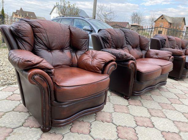 Шкіряний диван Chesterfield комплект 3+2+1 мяка частина кожані дивани
