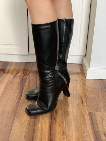 Buty ze skóry kozaki zimowe czarne roz 40