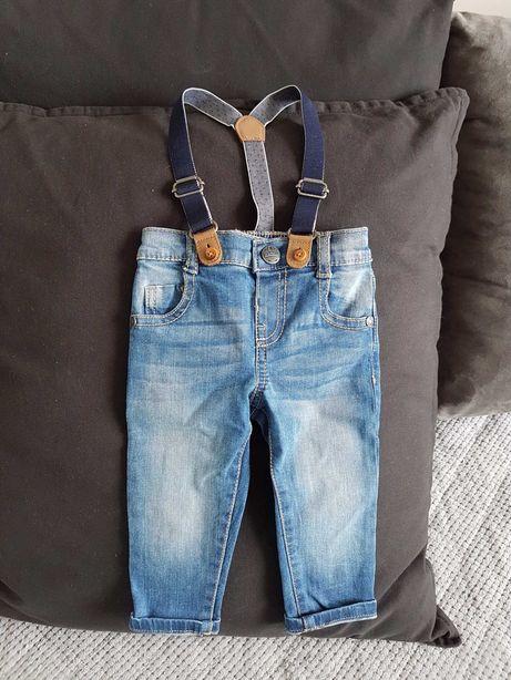Jeansy z szelkami H&M 3-6 msc