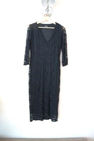 czarna midi wizytowa elegancka koronkowa sukienka w koronkę 42 44 XXL