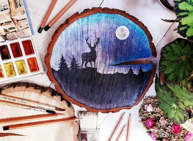 Картина на дереве подарок рисунок на спиле дерева ночь звезды лес