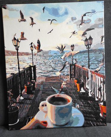 Pomalowany obraz ,,Poranek nad morzem '' - Malowanie po numerach