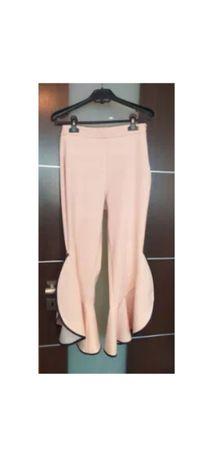 NOWE Zara beżowe spodnie 7/8 falbany casual nude jasny róż S 36