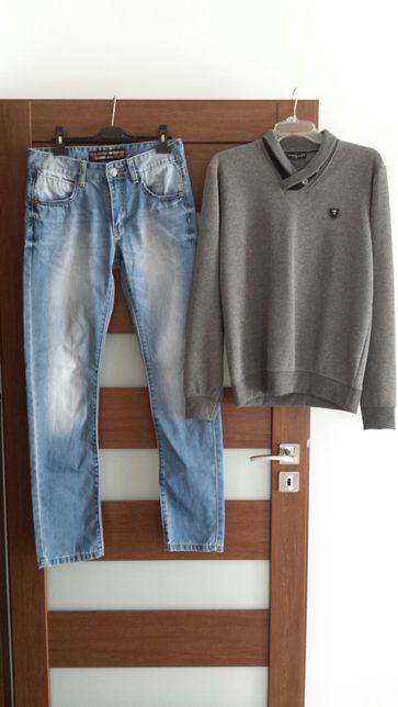 Spodnie Dżinsowe Rozmiar 29, Sweter Rozmiar M. Ubranie Męskie Jeans.