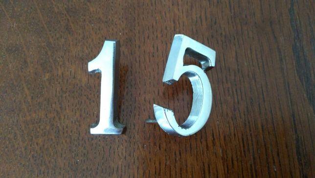 Cyferka,cyfra jedynka chromowana, srebrna na drzwi