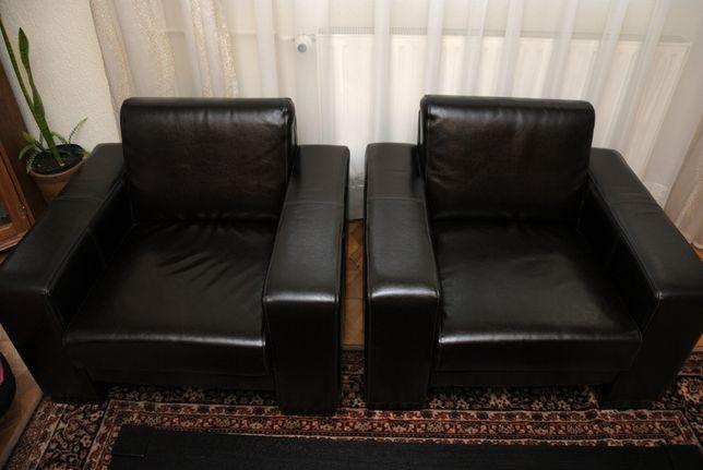 Skórzany zestaw wypoczynkowy - sofa + 2 fotele + ława