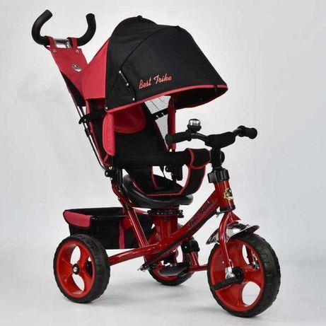 Велосипед трёхколёсный детский, Красный, Ровер, з ручкою