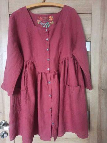 Sukienka, bordowa, burgundowa, oversize, plus Size, Xl,XXL, 100% len