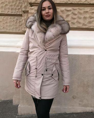 Куртка-парка женская из натуральным мехом песца. Акция!