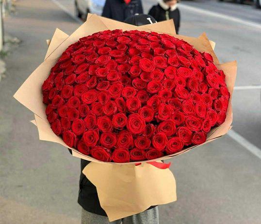 Огромный букет 111 роз. Цветы Днепр, подарок. Доставка цветов