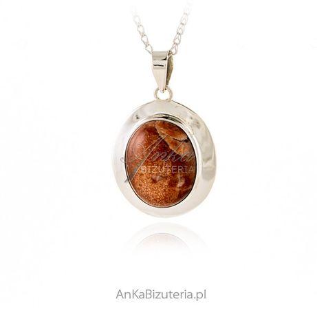 ankabizuteria.pl biżuteria piórko Srebrna zawieszka z naturalnym KAMI
