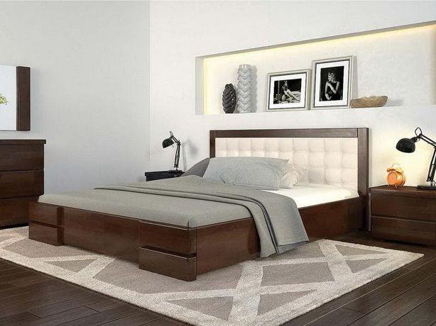 Дауспальняя кровать + две тумбочки дерева «Регина»