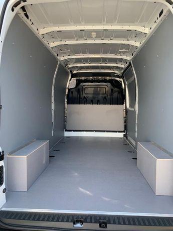 Zabudowa busa furgonu Mercedes Sprinter L3H2 zabudowa sklejka