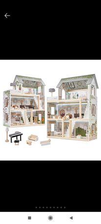 Nowy!Domek dla lalek drewniany  w stylu boho podświetlenie LED 3 piętr
