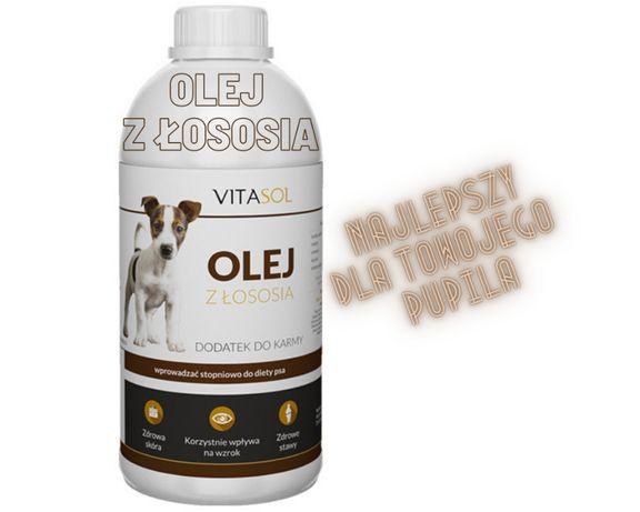 Olej łososiowy 100% rybny na ładną sierść dla psa i kota 1l