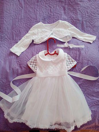 Śliczna Sukienka do chrztu dla dziewczynki rozmiar 80 cm