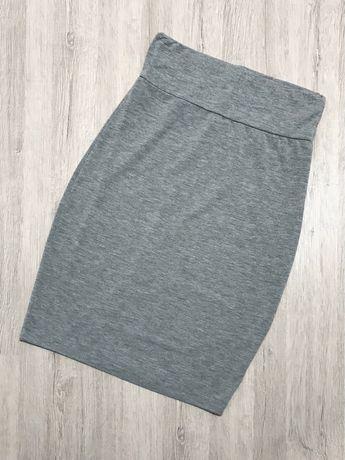 Szara ołówkowa spódnica XS 34 H&M szary melanż z wysokim stanem elasty