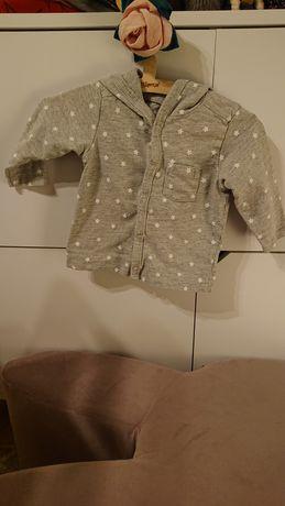 H&M 74 cienka bluza rozpinana z kapturem gwiazdki szary melaż