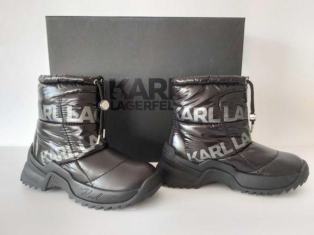 Karl LAGERFELD śniegowce botki czarne trapery 36