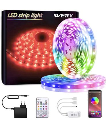 Fita Led RGB 5050 10m  Bluetooth e Resistente a água 