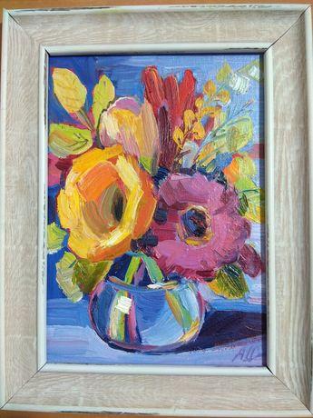 Картины маслом.,, Цветы,, 5 шт. Размер  13 *18, 14*14