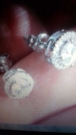 серебрянные серьги-пусеты с муассанитами-бриллианты