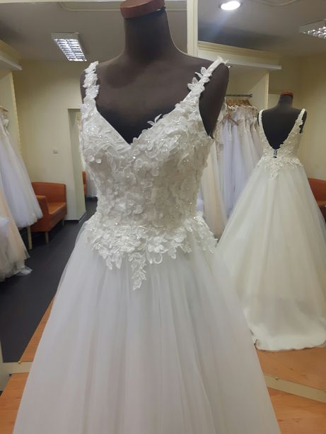Suknia ślubna 36 38 40 ecru śmietankowa princessa koronka 3D LUBLIN