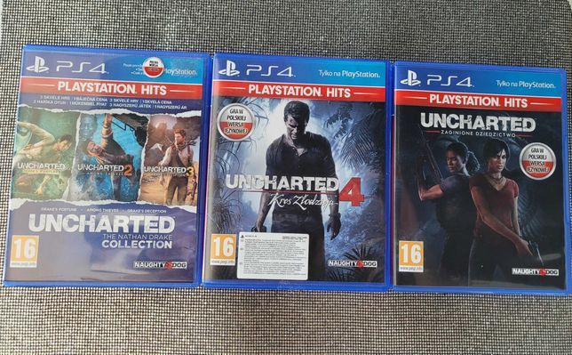 Zestaw 5 gier Ps4 Uncharted 1,2,3,4,5 PL Gry Ps4 Gra PlayStation 4