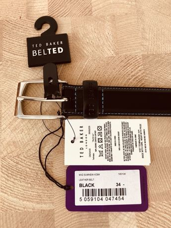 Nowy Skórzany Pasek Męski Ted Baker Czarny 34 86cm