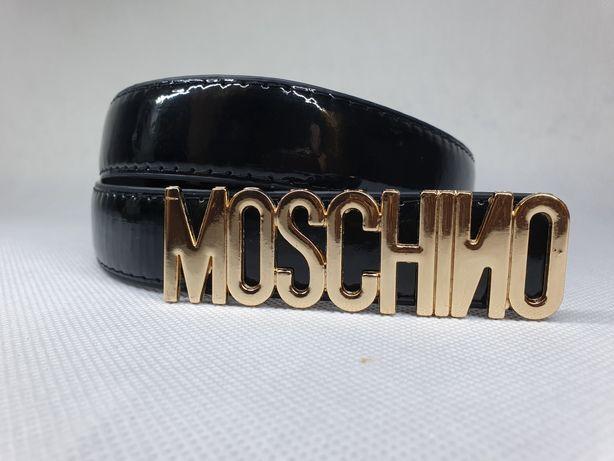 Pasek damski czarny lakierowany Moschino nowy