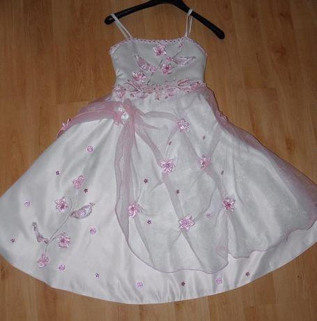 Sukienka tiul+bolerko. Idealna na ślub, wesele, komunię 7-8 lat