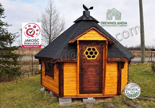 Domek grillowy całoroczny z pół-bala 100% drewno altana domy drewniane